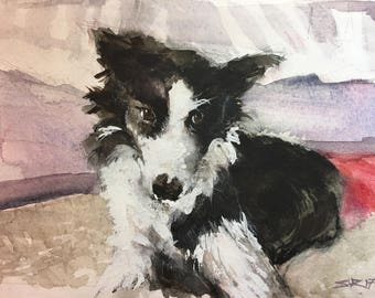 """CUSTOM Pet Portrait 8""""X10"""": """"Sophie by her bed"""""""