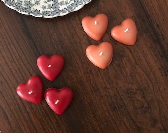 heart shaped beeswax candles- (set of three rose gold, red or gold)