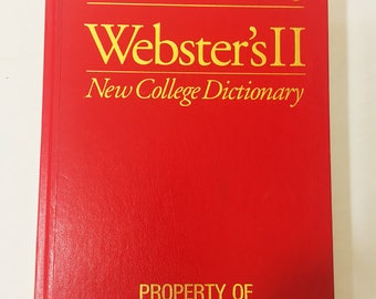 Vintage Property of U.S. Government dictionary. Beautiful red Webster's II New College Dictionary. Vintage book decor. Army Military Decor