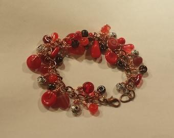 Kupfer und rot Tschechische baumeln Armband