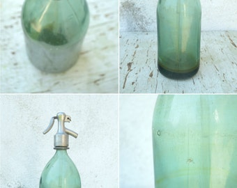 30% OFF Vintage Seltzer Bottle / Light Green Blue Glass Bottle / Vintage Soda Bottle / Vintage Fizzy Water Bottle / Old Glass Bottle