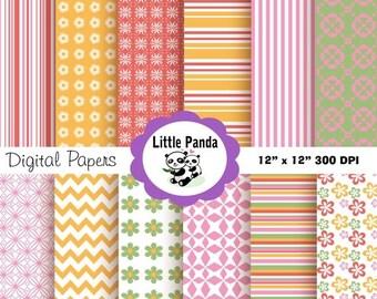 70% OFF SALE Floral Flair Digital Paper Pack, Digital Scrapbooking, 12 jpg files 12 x 12  - Instant Download - D13