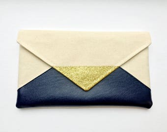 Navy Glitter Envelope Clutch, Glitter bridesmaid clutch, bridesmaid gift, bridal clutch, wedding gift set, gift for her