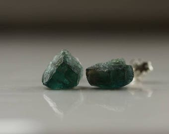 Raw Apatite earrings Sterling silver earrings Green Apatite studs Stud earrings Raw gemstone studs Green studs Silver studsGift for her