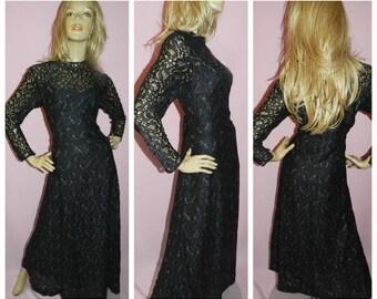 Vintage 70s 80s Black Silver LACE MAXI Evening dress 16 L 1970s 1980s GOTHIC