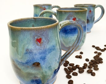 Hearts Imprinted Stoneware Mugs - Made to order