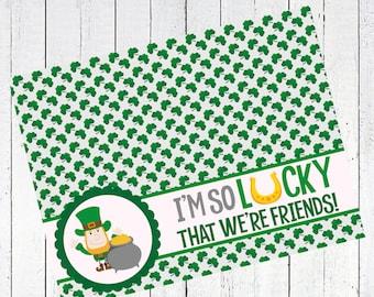 st patricks day bag topper leprechaun pot of gold lucky clover - I'm So Lucky That We're Friends Bag Topper Printable
