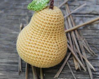Crochet Pear - 1pcs. Crochet food. Amigurumi food. Teether teeth. Crochet play food. Christmas gifts. Mother's Day Gifts