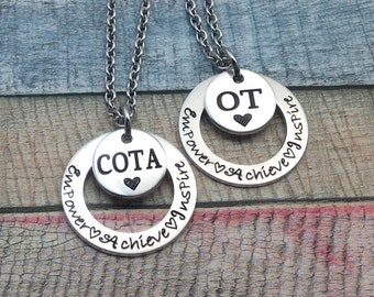 OT Jewelry,  COTA Jewelry, Occupational Therapy Jewelry, OT Staff, Rehab Office Necklace, Engraved Necklace, ot Month, Custom necklace