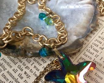 Summer Sea Necklace Swarovski Starfish Matte Gold Mermaid