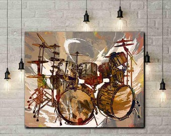 Drums, Drummer Gifts, Drum Set, Drum Prints, Drum Art, Rock n Roll Art, Music Room Decor, Browns, Neutrals, Music Art, Drummers, Drum Canvas