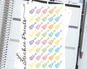 Guitar Planner Stickers -  Erin Condren, Plum Paper, Mambi or Happy Planner, Guitar, Guitar lesson, Guitar sticker, Guitarist, band sticker