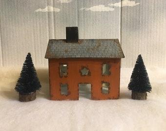Rustic Tin House and Bottle Brush Trees Set