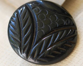 Black Plastic Button with Stylized Plant Life Pattern
