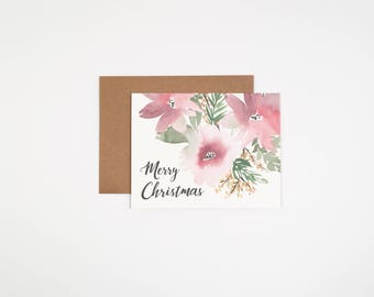 Floral Merry Christmas Card - Watercolor