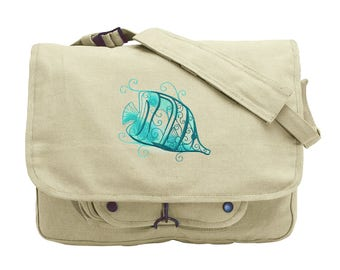 Aqua Marine - Fish Embroidered Canvas Messenger Bag