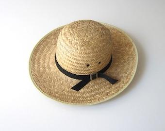 Vintage Brim Straw Hat Gardener Farm Straw Hat Woven Prairie Boho Summer Hat Black Ribbon Natural Straw Mexican Hat Womens Medium