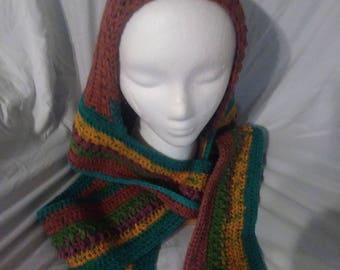 Crochet hooded scarf (scoodie)