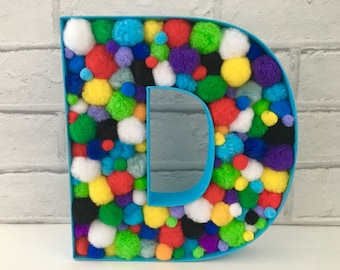 Name sign, Large initial, Nursery decor, Baby gift, New baby gift, Baby boy gift, Pom pom decor, Children's room decor, Birthday party decor