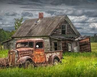Rusty Pickup Truck, Abandoned Farm, Chevy Truck, Rustic Landscape, Old Forlorn Homestead, Farm House, Fine Art Landscape, Auto Photograph