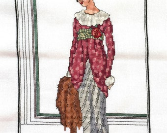 Completed Cross Stitch Embroidery Fashion Illustration Edwardian Lady
