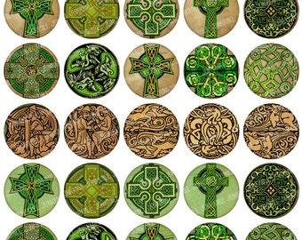 "CELTIC CIRCLES - Digital Printable Collage Sheet - Vintage Irish Celtic Crosses, Knots & Dragons, 1"" Circles, 25 mm, Instant Download"