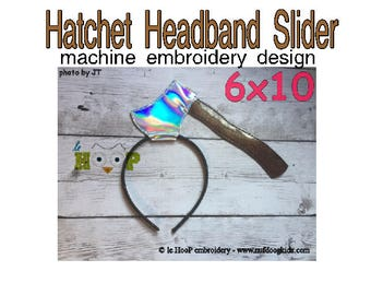 Hatchet Headband Slider Machine Applique Embroidery design ITH In The Hoop cosplay goth halloween
