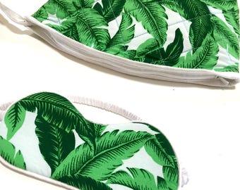 Eye Mask & Cosmetic Zip Pouch, Bridesmaids Gift Idea - Banana Leaf White