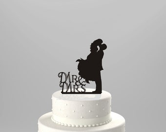 FREE SHIPPING!! Ships Next Day! Wedding Cake Topper Silhouette Couple Mr & Mrs, BLACK Acrylic Cake Topper [CT3]
