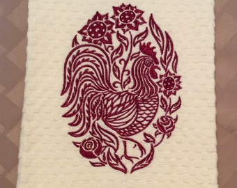 "Kitchen Towel, Dishtowel, Tea Towel, Hand Towel - Embroidered   ""Red Rooster"" - Handmade"