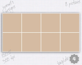 """Photo collage template 4 10x20"""" landscape & portrait (8 pictures)"""