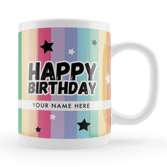 rainbow birthday mug custom name happy birthday gift