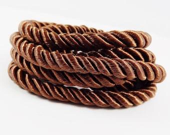 Brown 5mm Twisted Rayon Satin Rope Silk Braid Cord - 3 Ply Twist - 1 meters - 1.09 Yards - No: 8