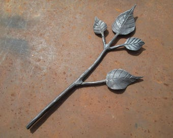 Forged iron branch, sculpture