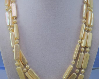 Yellow Plastic Luster Bead Necklace 1960-70s