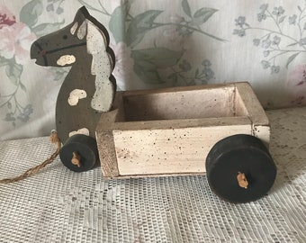Rustic Primitive Wooden Horse Pull Toy Home Decor Accent Piece