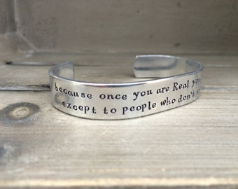 Velveteen Rabbit Bracelet / Because Once You Are Real You Can't Be Ugly / Literary Gift / Book Nerd Gift / Bookish Gift / Gift for Her