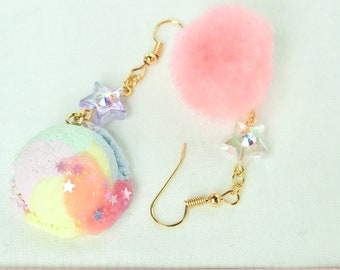 Yume kawaii polymer clay ice cream earrings, pompom,Kawaii Earrings, Fairy Kei Jewelry, Sweet Lolita Jewelry,Japanese Kawaii Jewelry,,