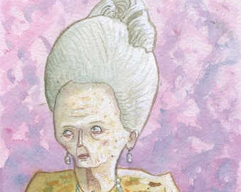 Madame D - Original Watercolor - Grand Budapest Hotel