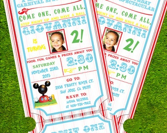Digital OR Printed Clubhouse Carnival Invitations