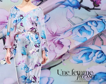 Blue magnolia flower and Butterfly Print Stretch Silk Satin Fabric Width 42 inch