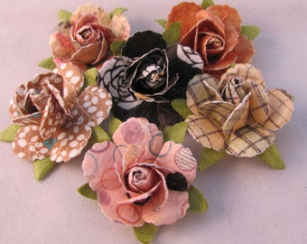 Set of (6) Rose Flower Lapel Pin Flowers - Assorted Colors - Everyday / Weddings / Prom