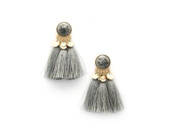 Grey Three Tassel Earrings