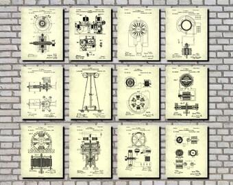 Nikola Tesla Patent Prints Set 12 Posters, Electrical Invention Posters, Tesla Blueprints