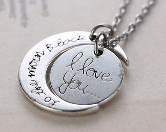 I LOVE you to the MOON and back necklace on ball chain