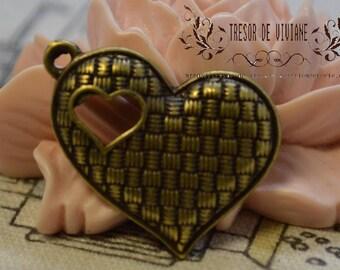 set of 8 heart QKA016 pendant, Bronze, manual, jewelry