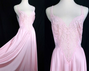 Olga Pink Nightgown Nightie Plunging Lace Wide Sweep 1970s Peignoir Negligee Large Medium