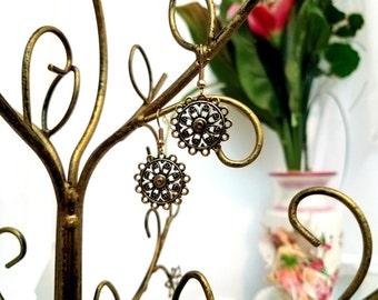 Flower Charm Earrings by Anne O'Brien Design / Gold Flower Wire Earrings