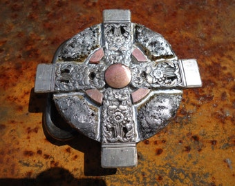 Silver Spoon Cross belt buckle Ancient Holy Relic