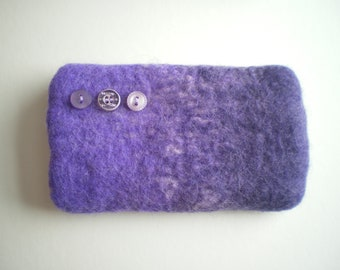 Purple and mauve hand felted wool mobile phone/glasses case